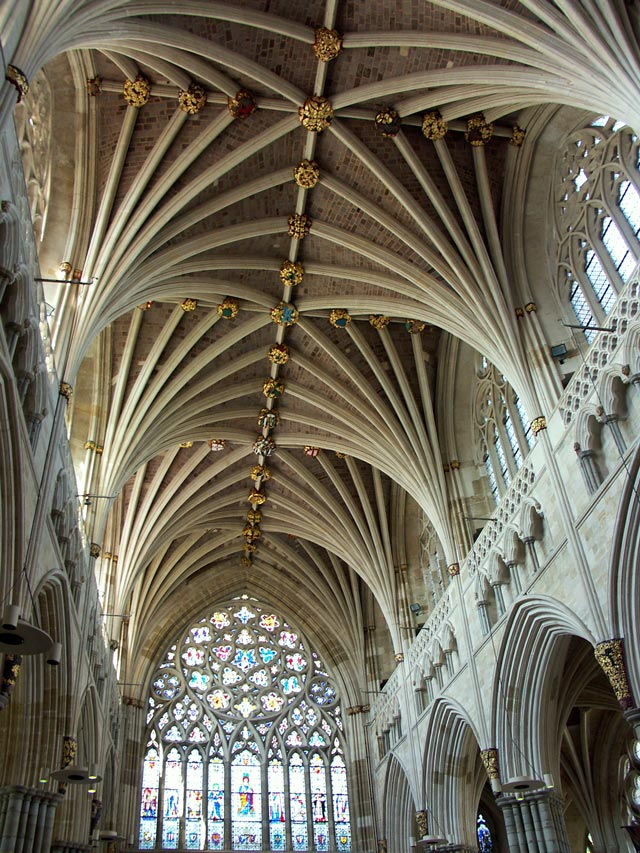Exeter cathedral vaulted ceiling devon guide for Cathedral ceiling trusses