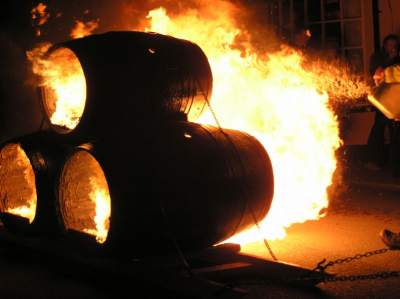 Burning barrels at Hatherleigh Carnival