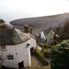 View over Clovelly Cottages and Beach