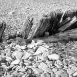 Wood and Pebbles on Beach