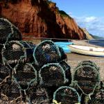 Sidmouth beach crab pots