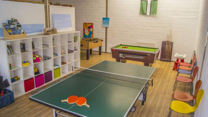 Family games room with table tennis, pool & table football