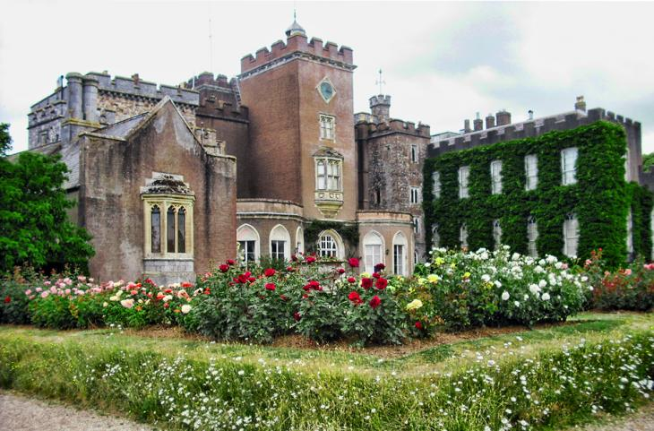 Powderham Castle and rose garden